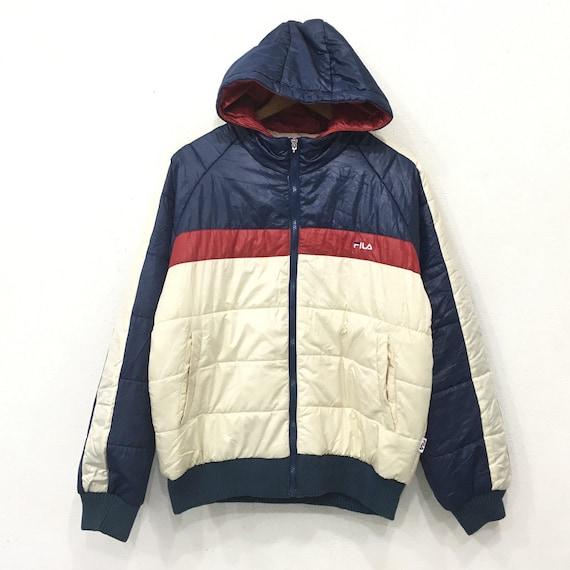 Rare!! FILA Bella Italia JACKET Hoodies Bubble bomber Sweater Zipper Down Big Block Multicolour Small logo Embroidery Large Size 62NMOpFCN