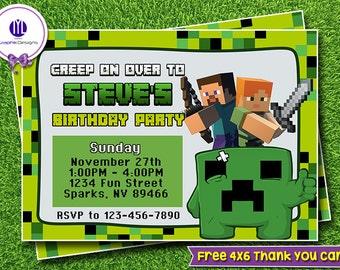 Mine Themed Birthday Party Invitation, Inspired Mine Themed Printables, Inspired Mine Themed Invitation, Mine Themed Party
