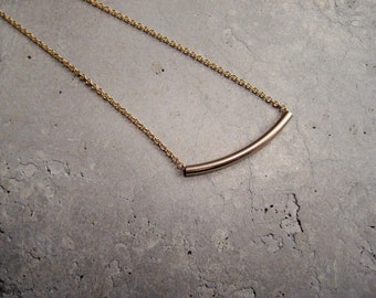 Gold curved bar necklace, gold filled necklace, tube necklace, delicate gold necklace, gold minimalist necklace, layering necklace, So You