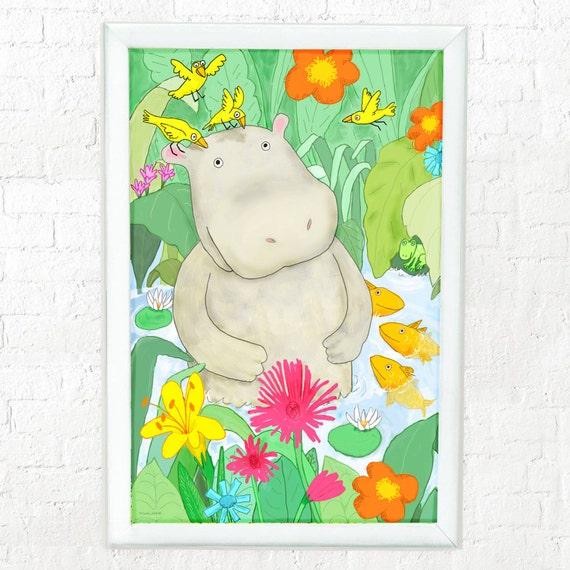Whimsical hippo print for kids, art for kid's room, prints for kid's rooms, kids decor, children's room art, nursery decor, kids room print