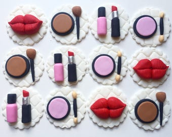 Makeup themed cupcake toppers