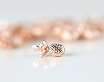 1 Rose Gold Pineapple Charm, Dainty Pineapple Pendant, PN-R1