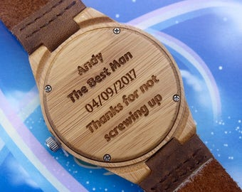 Best Man Gift Groomsmen Gift Groomsman Gifts Gift For Best Man Personalized Wooden Engraved Watch Wood Watch Gift For Best Man