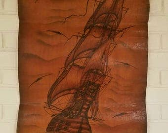 Vintage leather tall ship art