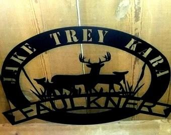 Established Sign, Family name Sign, Wall Hanging, Metal Sign, Steel Sign, Cabin Sign, Housewarming gift, Valentines gift, Gift for Her, Deer