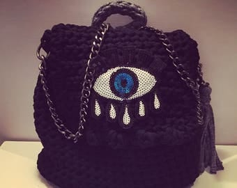 Bag crochet backpack black