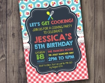 COOKING Party Invitation - Birthday Invitation - Chef Party - Chalkboard Vintage - Red Gingham - Customized for you - Printable JPEG PDF