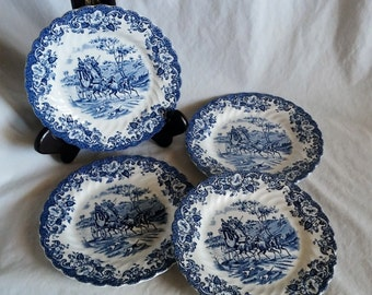 """Set of 4  ~ Vintage Johnson Bros Coaching Scenes Hunting Country 6.25"""" Blue White Bread and Butter Plates"""