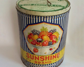 Large Vintage Tin Collectible Sunshine Brand 30-lb. Fruit Container 1930s Colorful Tin  Zeropack Kitchen Decor
