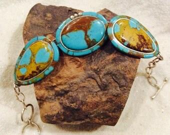 native american southwest sterling silver kingman arizona turquoise toggle bracelet with gold color matrix