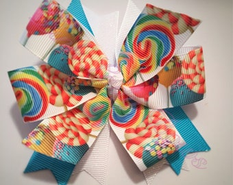 lollipop bow, rainbow bow, bows for girls, hair bow for girls, toddler bows, bow for toddlers, baby bows, candy bow, gifts for girls