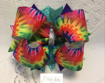 tie dye bow, rainbow bow, bows for girls, gift for girls, big bow, boutique bow, bows, bows for girls, Toddler Hair Bows, gift for girls