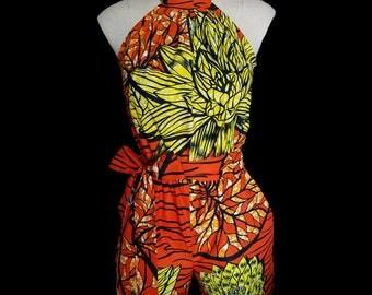 African Ankara Print Fabric Romper, Orange Floral