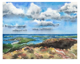 Sky Road Connemara Ireland Original Watercolor Painting