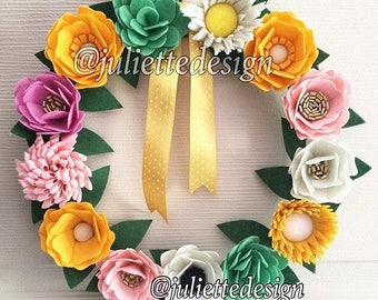 Felt Flowers Wreath, Spring Wreath, Summer Wreath, Colorful Wreath