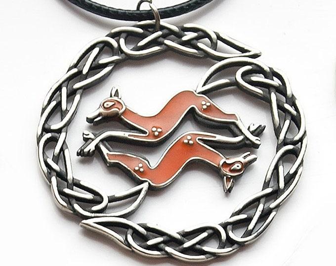 Celtic Fox Pendant in brass or albata with enamel