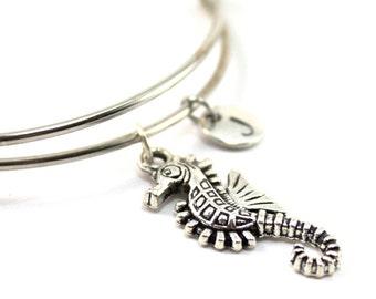 SEAHORSE bracelet, silver seahorse bangle, seahorse charm, initial bracelet, adjustable bangle, personalized jewelry, swarovski birthstone