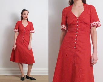 70s Button Front Red Polka Dot Dress / XS