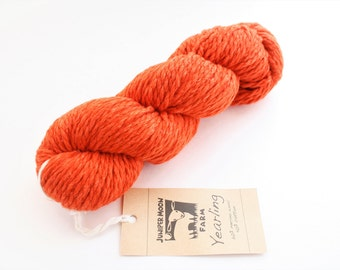 Bulky Knitting Yarn, Wool & Cotton mix, 'Juniper Moonfarm Yearling', Orange Chunky Yarn SALE