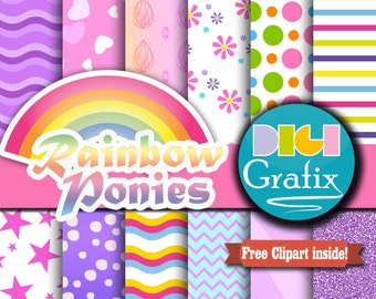 Rainbow Pony Digital Paper - Ponies Clipart, Rainbow Digital Paper, Printable Paper, Pony Birthday Party, Little Girl Printables, Commercial