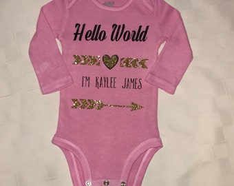 """Hand dyed """"Welcome to the World"""" Onesie"""