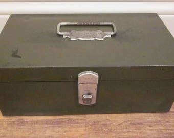 Vintage Industrial Climax Army Green Steel Cash or Storage Box