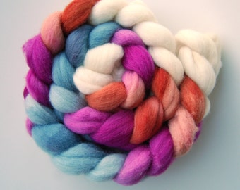 Hand dyed POLWARTH roving, spinning felting fibre 100g/3.5oz