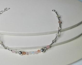 Silver 925 bracelet ,multicolour bracelet, crystals beaded bracelet, dainty bracelet