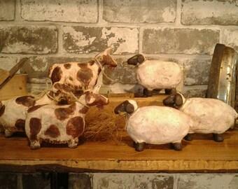 Primitive Sheep - Ceramic - Sheep - Goat - Figure - Jute Bow - Handmade - Without Molds - Pottery - Unique - Farm - Animal -