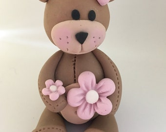 Baby shower teddy Bear cake topper,3D fondant Teddy Bear cake topper,girl teddy bear cake topper,birthday cute teddy bear cake topper
