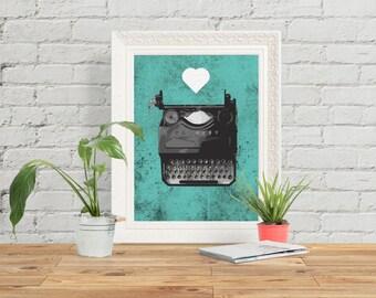 Typewriter Turquoise Art Print Giclee Art Poster Hand Drawn