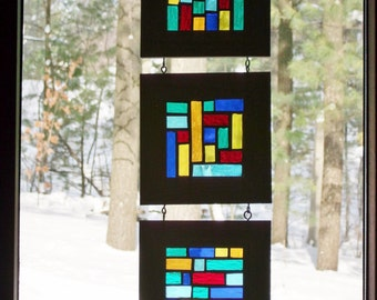 Stained Glass Mosaic Window Panel Abstract Art Small Space Decor