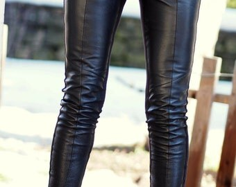Black Extra Long Genuine Leather Leggings/genuine leather leggings/black extra long leggings