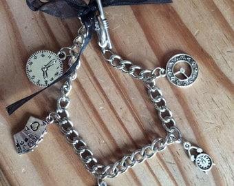 Silver clock bracelet