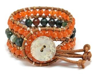 Boho Tansy * Jade & Agate. 3 strand Wrap Bracelet. Boho Style. Bohemian Jewelry. Semiprecious stones. Gift for her. Cuff Bracelet.