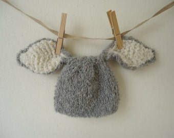 Baby bunny ears hat, easter bunny hat, Gray alpaca bunny ear hat, bunny rabbit hat. Sizes available- newborn, baby, toddler, kids and adult.