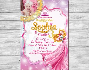 Sleeping Beauty Invitation, Sleeping Beauty Birthday Invitation, Princess Aurora Invitation, Princess Aurora Thank You Card | MAAU_2
