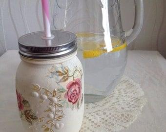Emma Bridgewater hand decorated Rose and Bee drinking jar, rose, drink, shabbychic