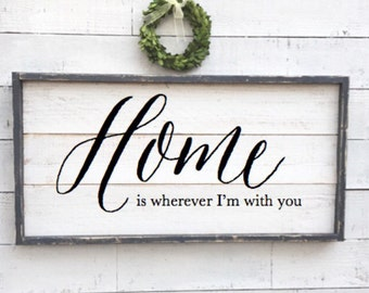 Home is wherever I'm with you, framed vintage sign