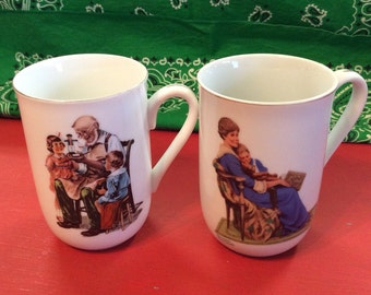 Vintage  Norman Rockwell Porcelain Mugs/ 1982 Bedtime/ 1986 The Toy Maker
