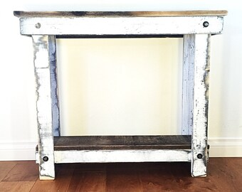 Rustic Handcrafted Reclaimed Console Table - Self Assembly - White