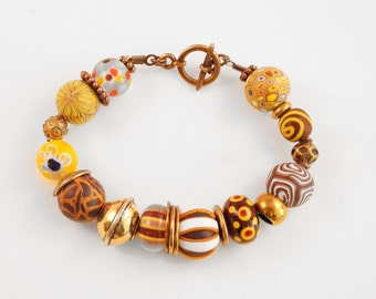"Bracelet ""BOLLYWOOD"" golden yellow and brass"