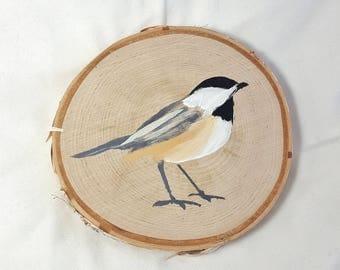 Birch wood round / Chickadee painting / bird wall decor