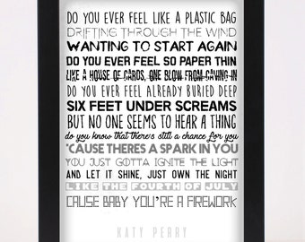 Katy Perry - Firework - Pop and Indie Prints Typography Poster Print