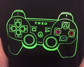 PlayStation Game Controller T Shirt With Your Child's Name PS4 Gaming Retro