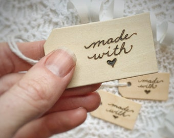 Wooden Gift Card, Hand Burned Wooden Gift Tags, Made With Love, Reusable, Wood Burned by Hand, Wood Gift Tag