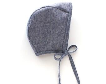 Denim Blue Bonnet (Linen/Cotton blend)