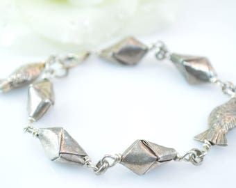 Unique Fish Charm Folded Link Bracelet Sterling Silver 23.9g