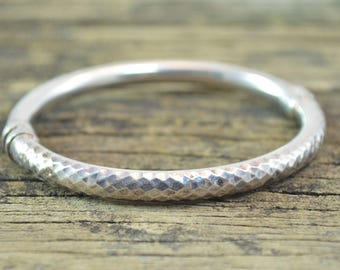 Textured Hinged Bangle Bracelet Sterling Silver 13.5g
