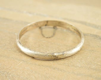 Vintage Style Diamond-Cut Floral Scroll Hinged Bangle Bracelet Sterling Silver 10.3g
